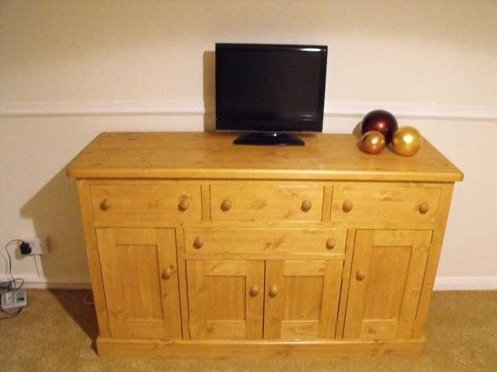 pine waxed drawer and door cupboard