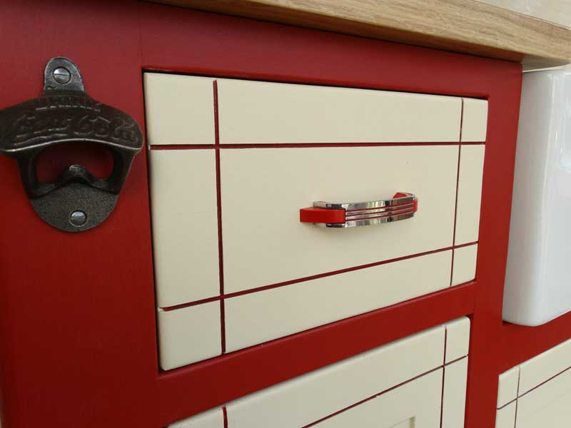 retro sink unit two tone drawer