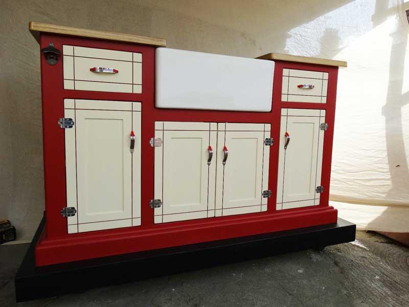 retro vintage red and cream belfast sink unit oak