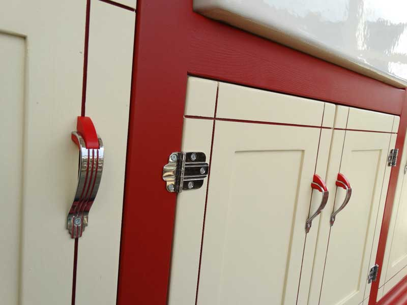 50's retro red and chrome door pulls and hinges