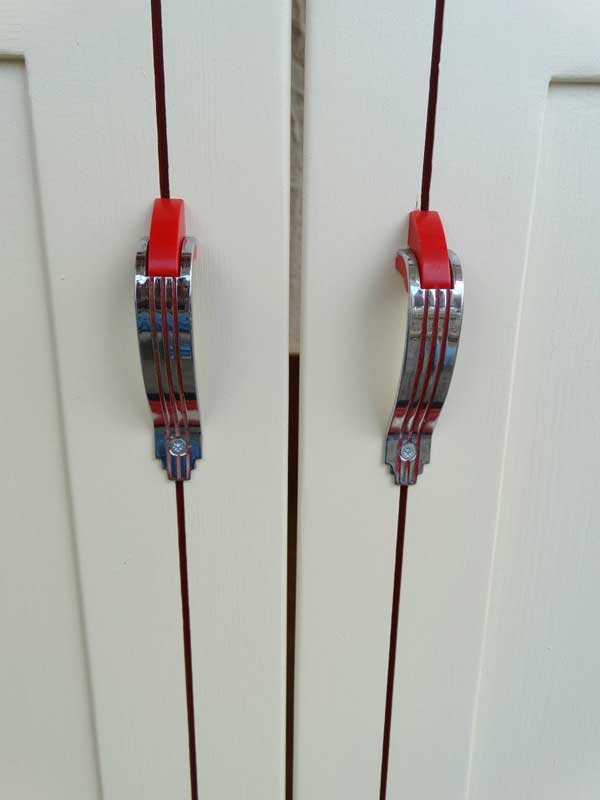 50's retro red and chrome door pulls