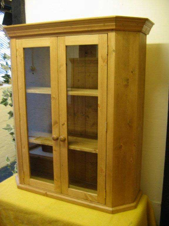 canted corner glazed 2 door wall cabinet