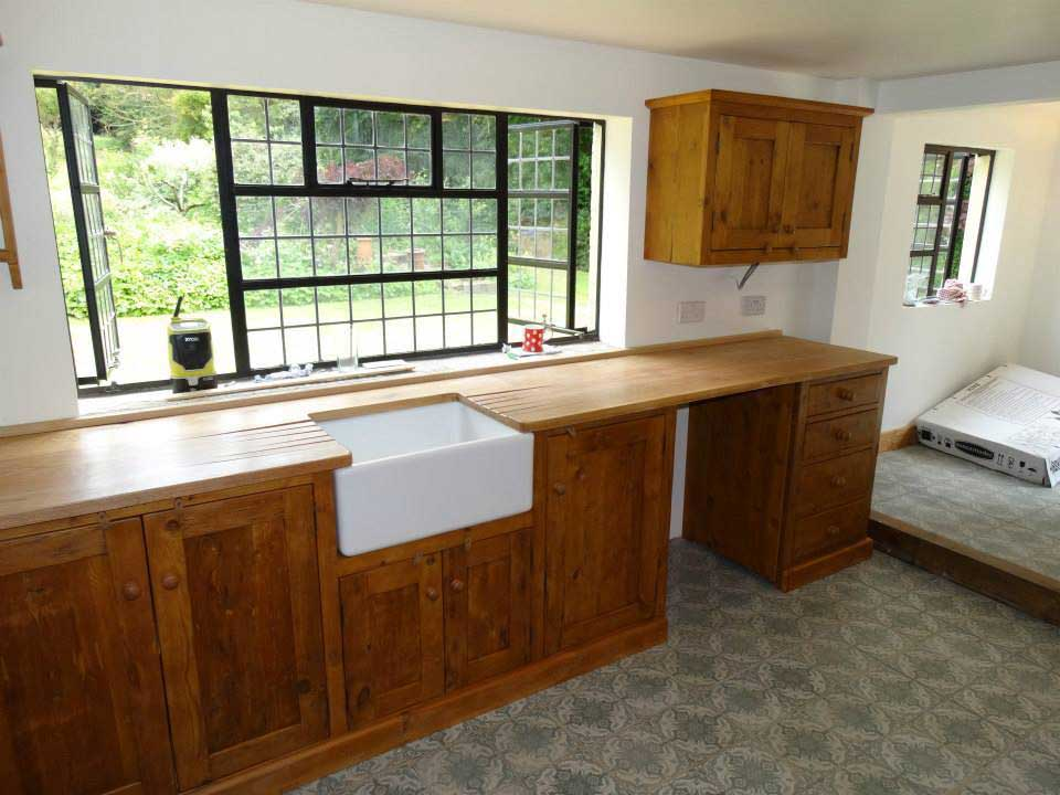old kitchen oak worktop