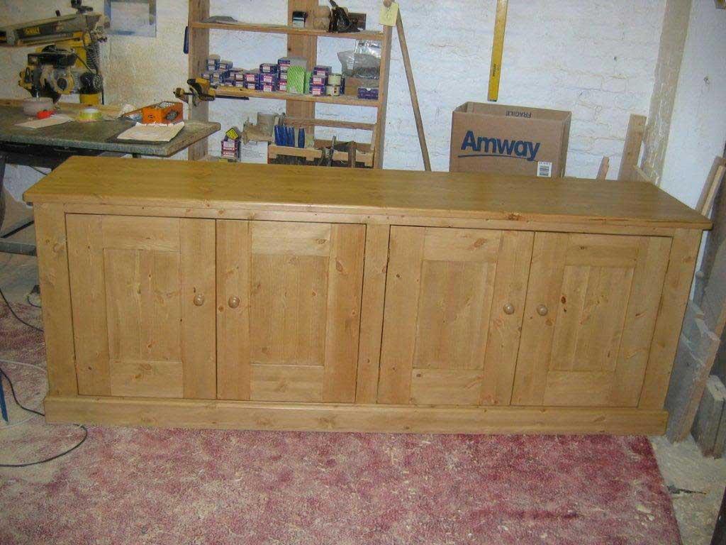 low pine storage cupboard waxed