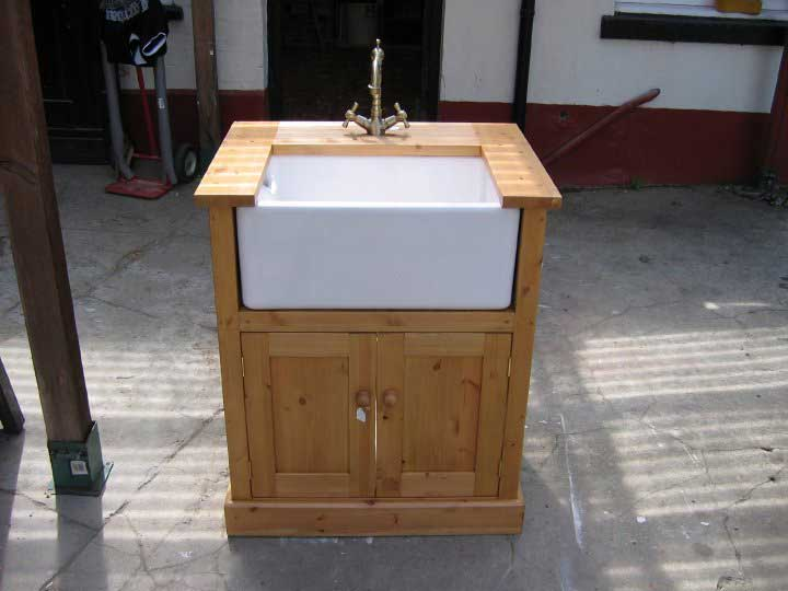 utility belfast sink unit pine oak