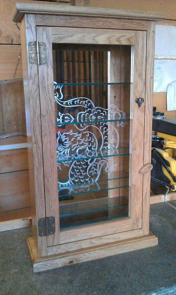 oak brass glass tattoo machine cabinet dragon mirror