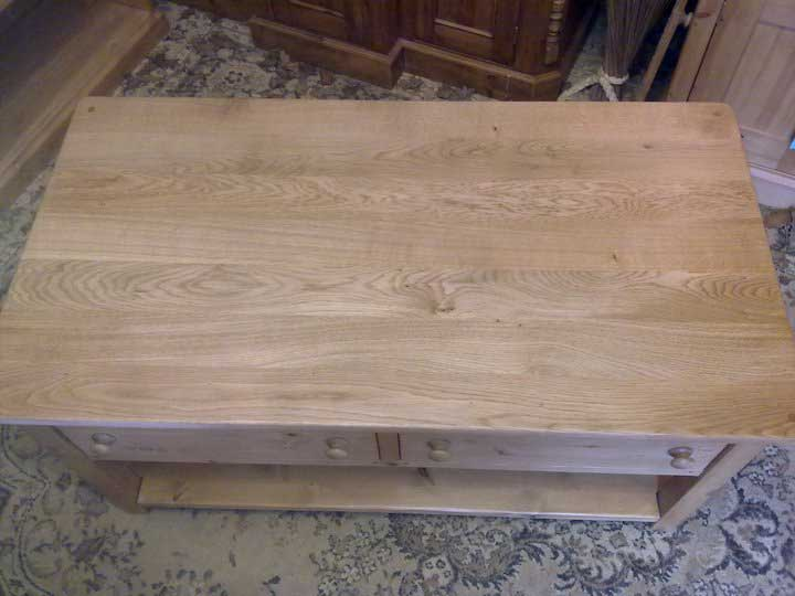 oak top coffee table with drawers living room