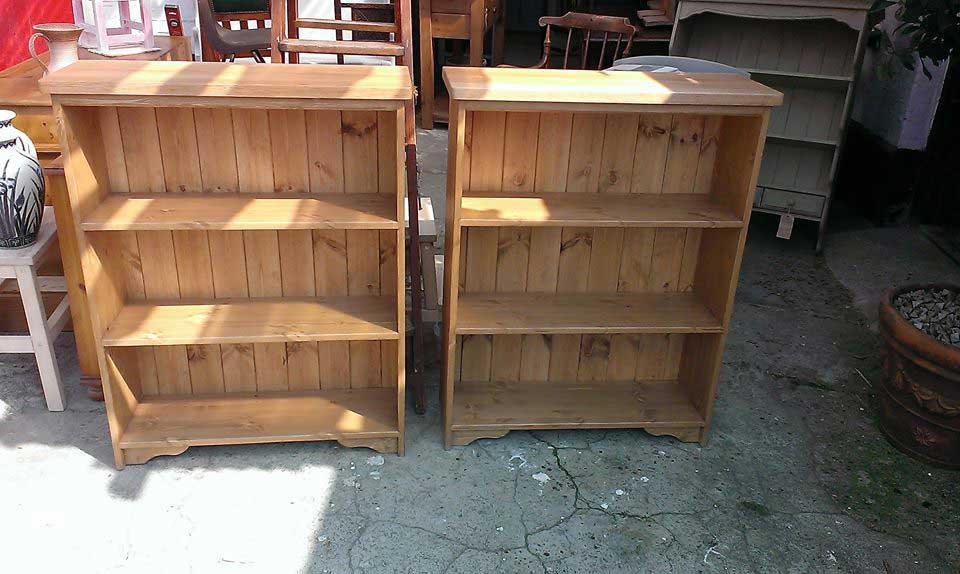 oak top pine waxed bookcases