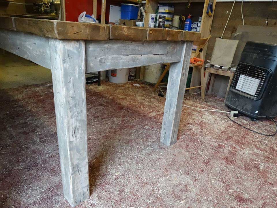 distressed rustic painted table kitchen