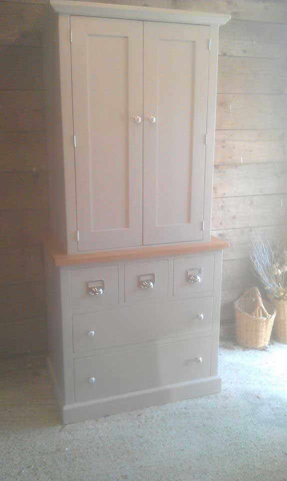 kitchen pine oak chrome handles cupboard