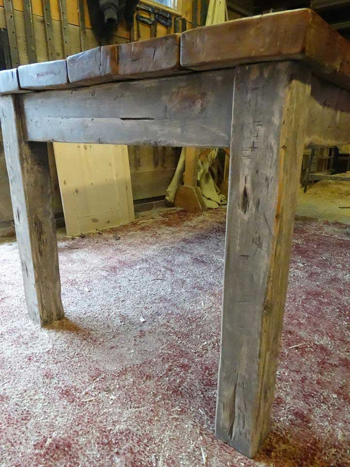 distressed old wood table painted