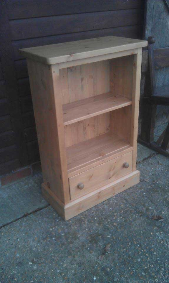pine waxed small bookcase with drawer