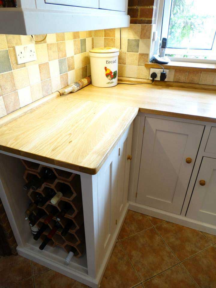 built in wine rack oak top kitchen