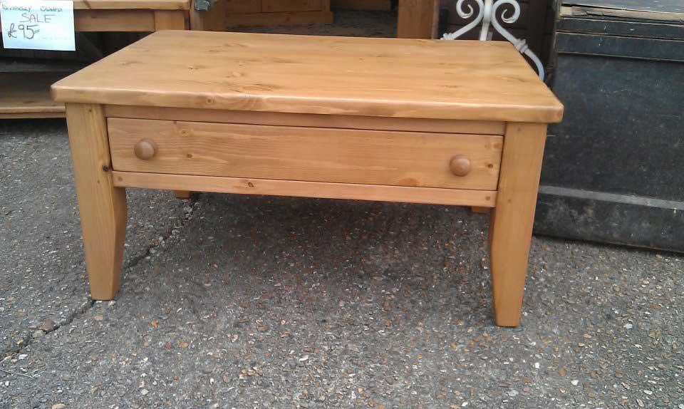 pine waxed coffee table drawer