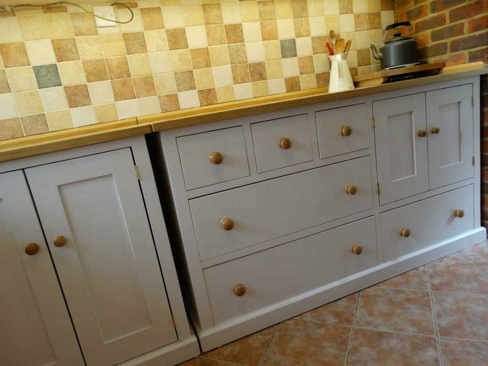 free standing oak pine painted kitchen cupboard