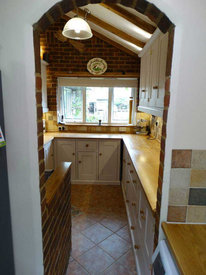 fitted pine and oak painted kitchen