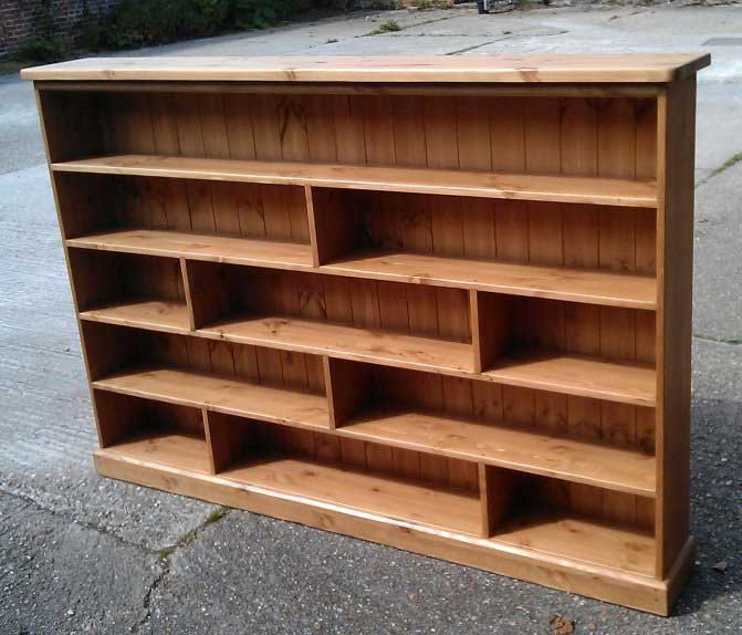 pine waxed wide bookcase