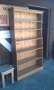 tall pine waxed stepped bookcase Tenterden