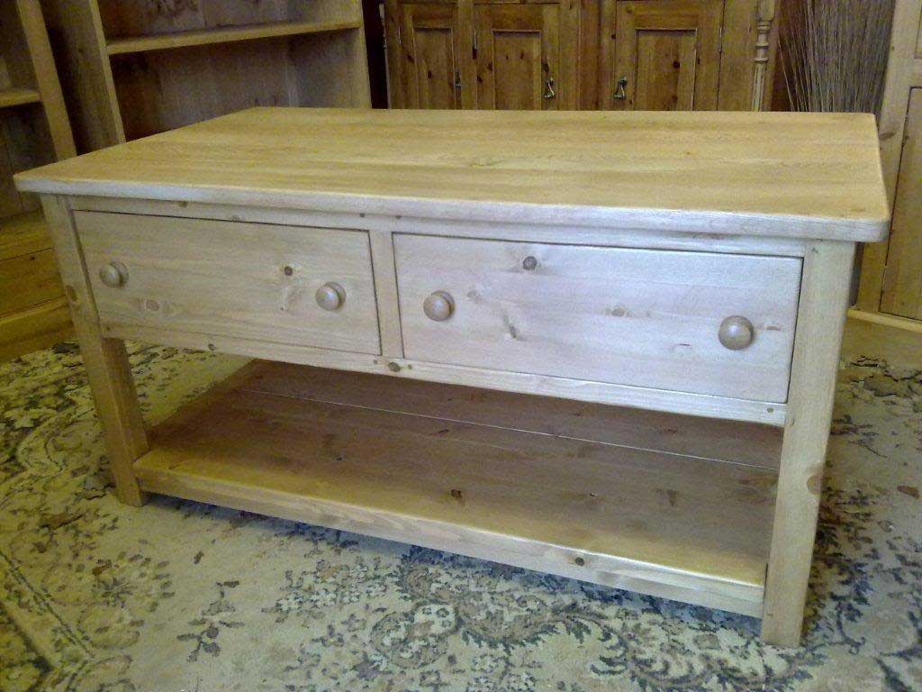 oak top pine coffee table with shelf