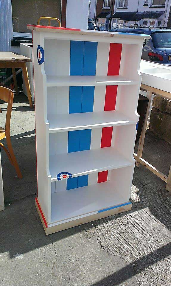 pine painted mod bookcase RAF stickers