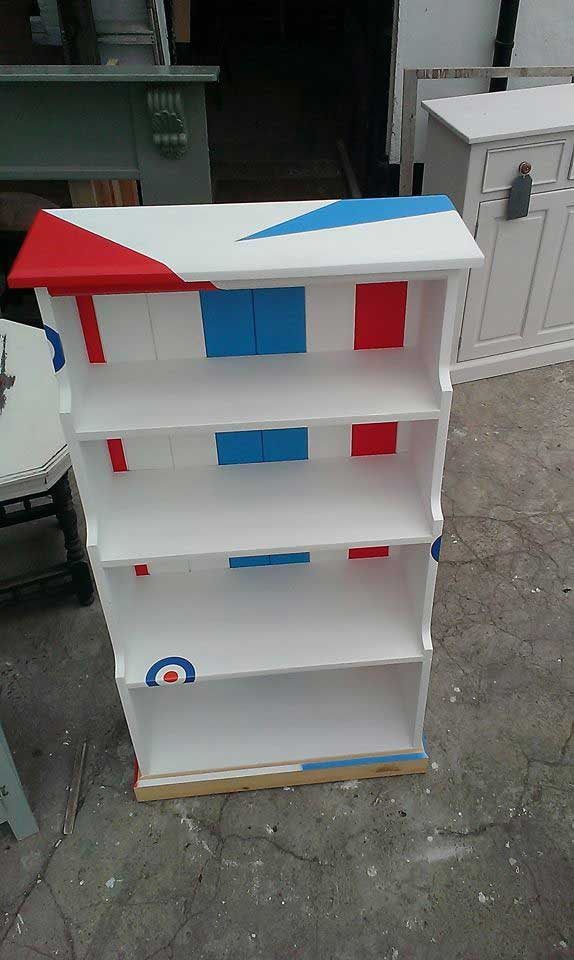 pine mod raf painted bookcase