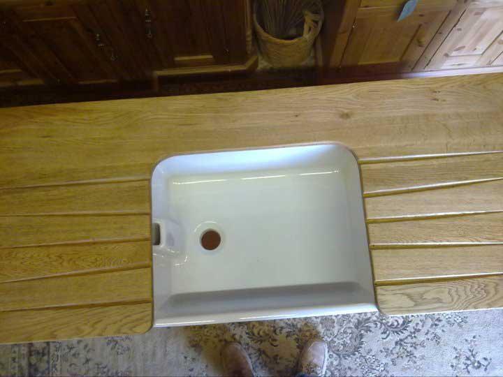 oak belfast sink drainer