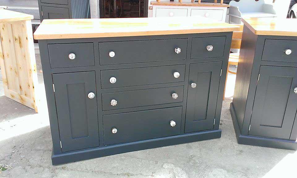 black painted kitchen oak top base