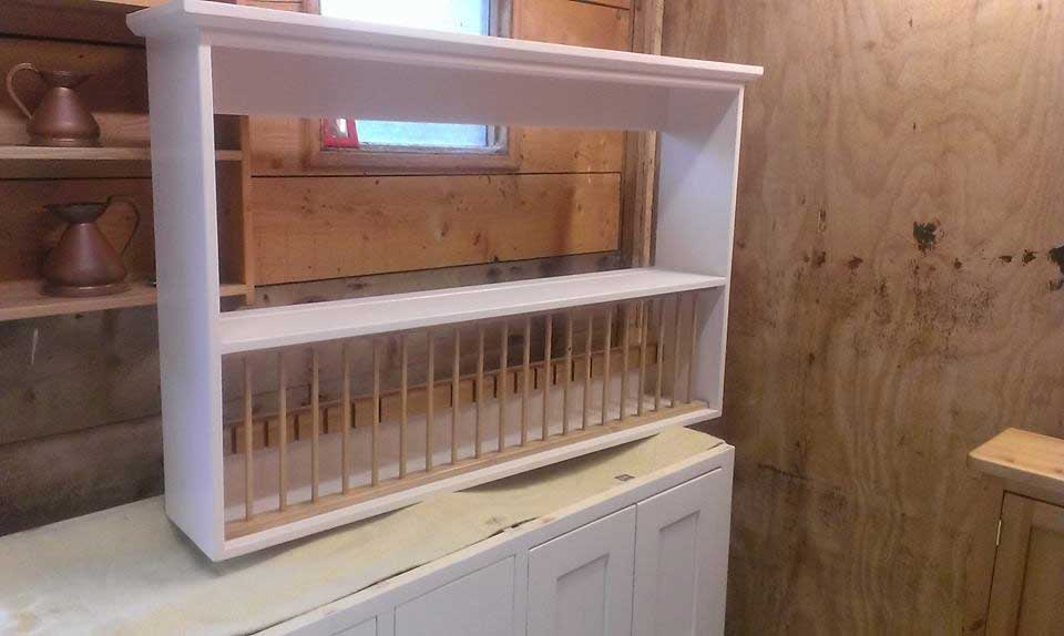 kitchen pine painted plate rack