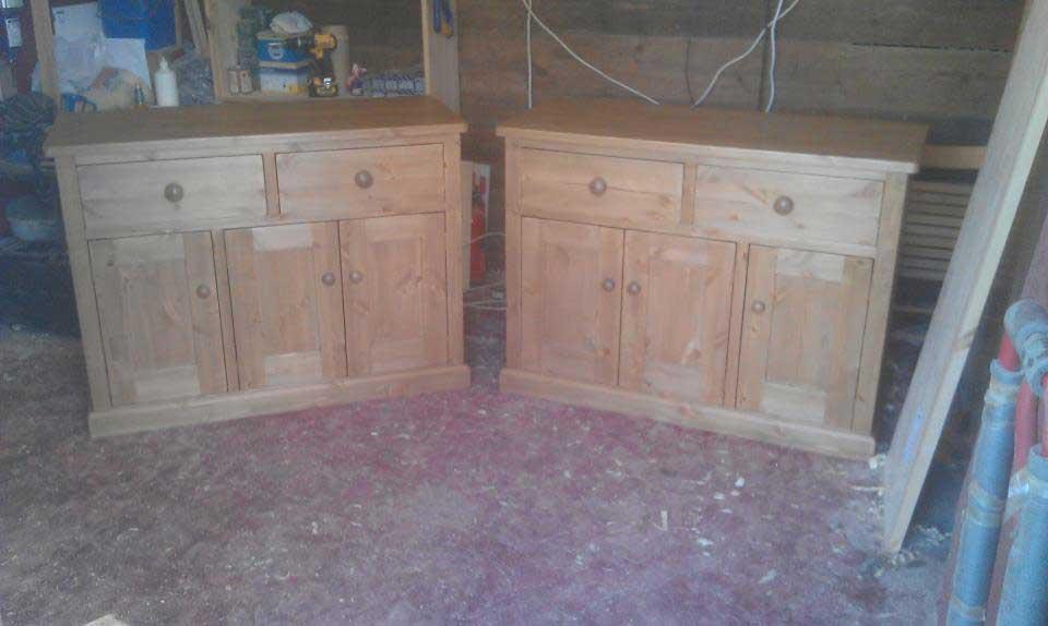 pine hand made cupboard bases waxed