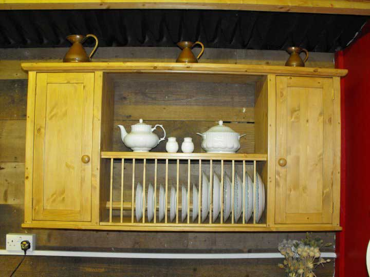 pine plate rack doors wall unit