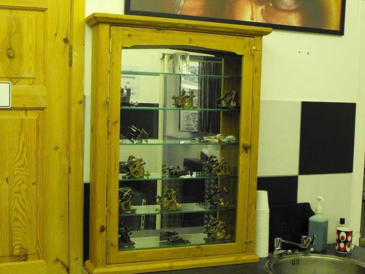 pine tattoo machine glass cabinet Canterbury