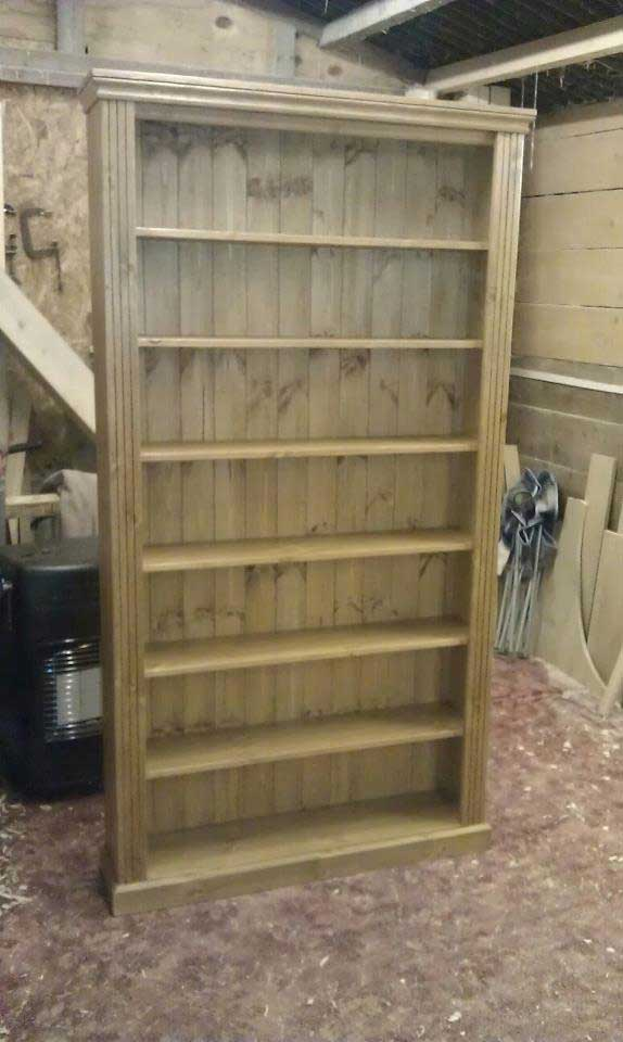 large hand made fluted bookcase pine Aldington