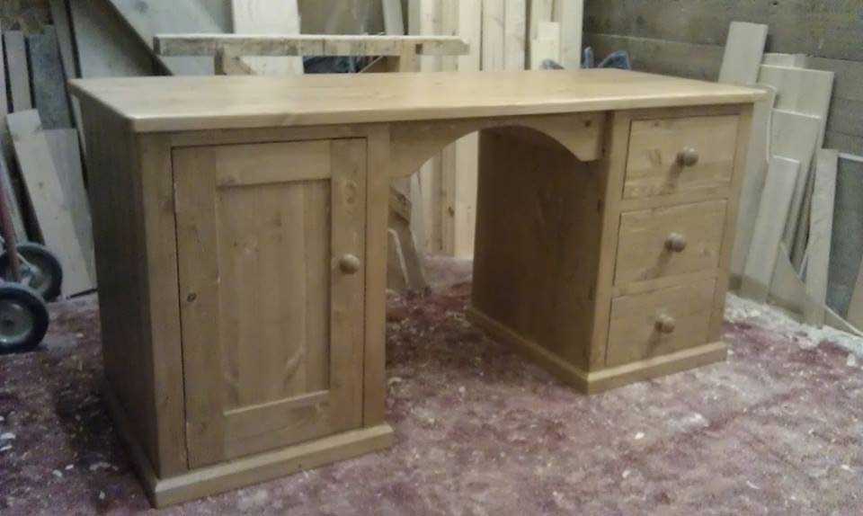 hand made twin desk pine drawers door Folkestone