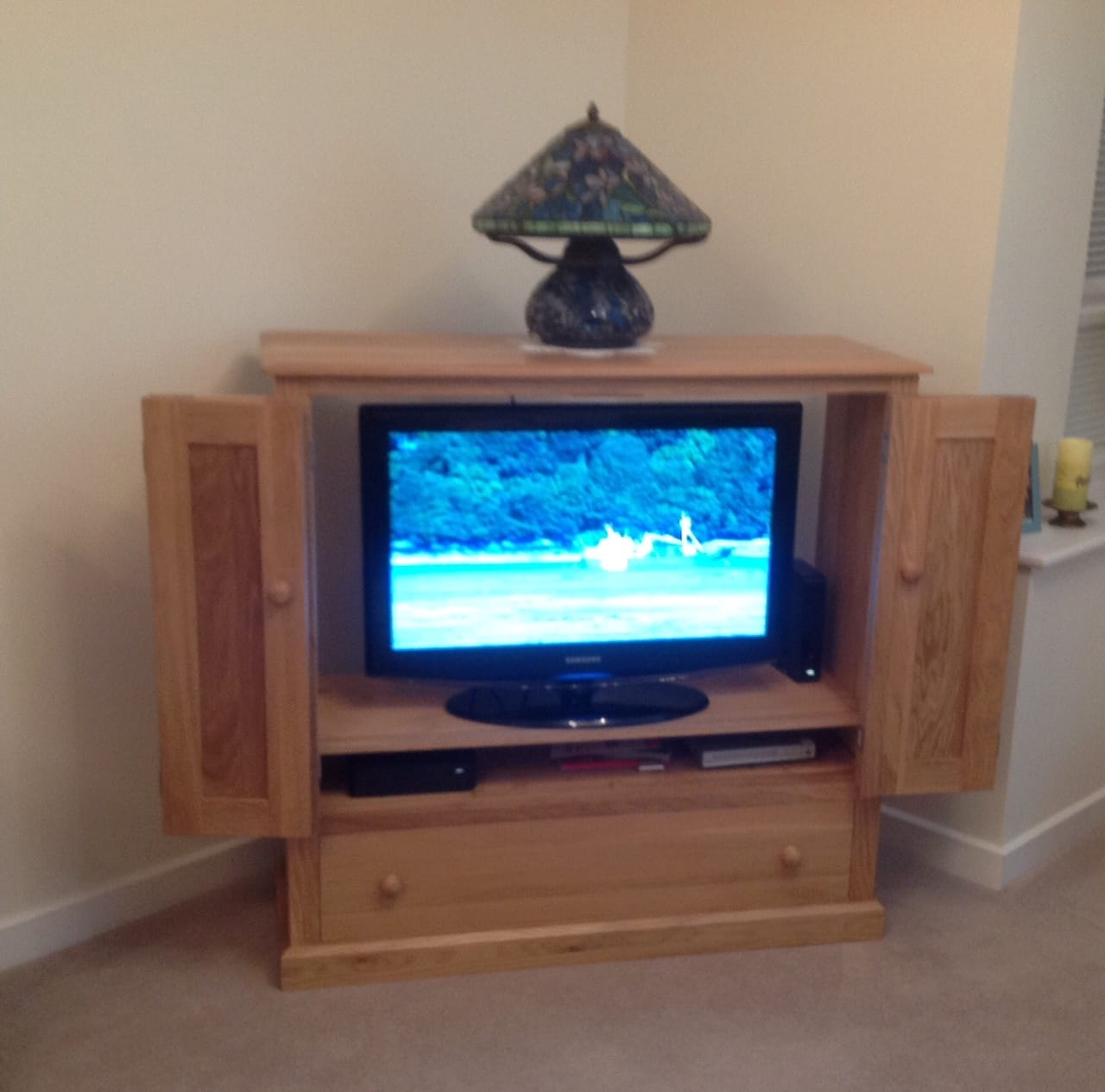 Hand made wooden oak TV cabinet Ashford Kent