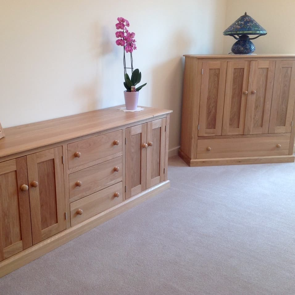 Hand made wooden oak TV cabinet and matching sideboard Hythe Kent